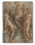 Three Goddesses  Minerva, Juno And Venus Spiral Notebook