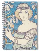 Vintage Poster - Woman With Flower Spiral Notebook