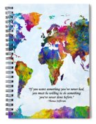 Watercolor World Map Custom Text Added Spiral Notebook