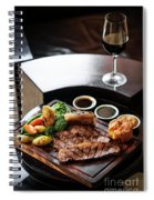 Sunday Roast Beef Traditional British Meal Set On Table Spiral Notebook