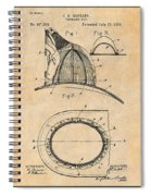 1889 Hopkins Fireman's Hat Antique Paper Patent Print Spiral Notebook