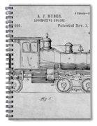 1891 Huber Locomotive Engine Gray Patent Print Spiral Notebook