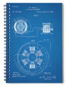 1896 Tesla Alternating Motor Blueprint Patent Print Spiral Notebook