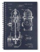 1903 Fire Hydrant Blackboard Patent Print Spiral Notebook