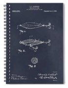 1909 Lockhart Antique Fishing Lure Blackboard Patent Print  Spiral Notebook