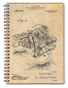1913 Side Car Attachment For Motorcycle Antique Paper Patent Print Spiral Notebook