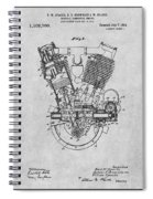1914 Spacke V Twin Motorcycle Engine Gray Patent Print Spiral Notebook