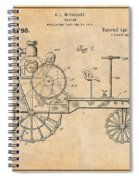 1919 Antique Tractor Antique Paper Patent Print Spiral Notebook
