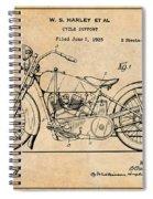 1928 Harley Davidson Motorcycle Antique Paper Patent Print Spiral Notebook