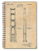 1932 San Francisco Golden Gate Bridge Antique Paper Patent Print Spiral Notebook