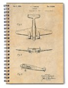 1934 Lockheed Model 10 Electra Airliner Patent Antique Paper Spiral Notebook