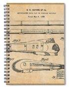 1935 Union Pacific M-10000 Railroad Antique Paper Patent Print Spiral Notebook