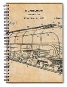 1937 Jabelmann Locomotive Antique Paper Patent Print Spiral Notebook