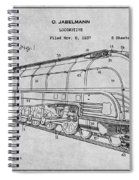 1937 Jabelmann Locomotive Gray Patent Print Spiral Notebook