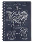 1954 Chrysler 426 Hemi V8 Engine Blackboard Patent Print Spiral Notebook