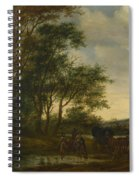A Landscape With A Carriage And Horsemen At A Pool  Spiral Notebook