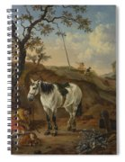 A White Horse Standing By A Sleeping Man  Spiral Notebook
