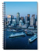 Aerial View Of A City, Seattle, King Spiral Notebook