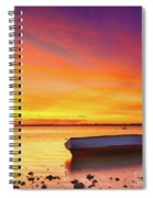 Fishing Boat At Sunset Time Spiral Notebook