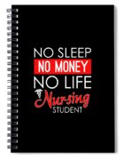 No Sleep No Money No Life Nursing Student Spiral Notebook