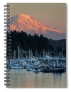 Sunset At Gig Harbor Marina With Mount Rainier In The Background Spiral Notebook