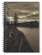 Walking Along The Seine At Sunset Spiral Notebook
