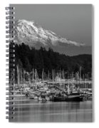 Gig Harbor Marina With Mount Rainier In The Background Spiral Notebook