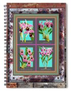 Antique Orchids Quatro On Rusted Metal And Weathered Wood Plank Spiral Notebook
