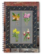 Orchids Antique Quadro Weathered Plank Rusty Metal Spiral Notebook