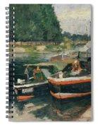 Barges At Pontoise  Spiral Notebook