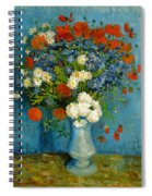 Vase With Cornflowers And Poppies Spiral Notebook