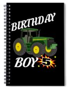 5 Years Old Birthday Design Green Tractor Gifdesign  Spiral Notebook