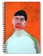 A Man With An Orange Background Spiral Notebook