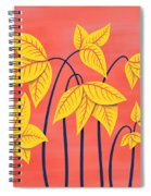 Abstract Flowers Geometric Art In Vibrant Coral And Yellow  Spiral Notebook