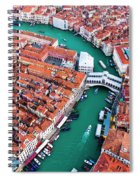 Aerial View Of Grand Canal And Rialto Bridge, Venice, Italy Spiral Notebook