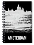 Amsterdam Skyline Brush Stroke White Spiral Notebook