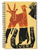 Antelope Black Ivory Woodcut9 Spiral Notebook
