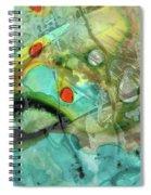 Aqua And Yellow Abstract Art - Juxtaposition - Sharon Cummings Spiral Notebook