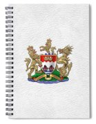 Hong Kong - 1959-1997 Coat Of Arms Over White Leather  Spiral Notebook