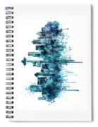 Seattle Skyline Monochrome Watercolor Spiral Notebook
