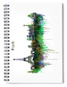 Paris Skyline Watercolor Spiral Notebook