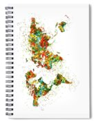 Map Of The World Watercolor Spiral Notebook