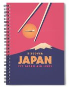 Retro Japan Mt Fuji Tourism - Magenta Spiral Notebook