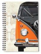 Volkswagen Type 2 - Black And Orange Volkswagen T1 Samba Bus Over Vintage Sketch  Spiral Notebook