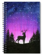 Winter Forest Galaxy Reindeer Spiral Notebook