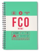 Retro Airline Luggage Tag 2.0 - Fco Rome Italy Spiral Notebook