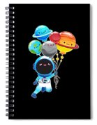 Astronaut With Planet Balloons Outta Space Spiral Notebook