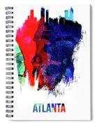 Atlanta Skyline Brush Stroke Watercolor   Spiral Notebook