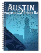 Austin Congress Bridge Bats In Blue Silhouette Spiral Notebook