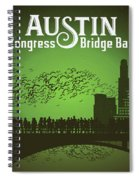 Austin Congress Bridge Bats In Green Silhouette Spiral Notebook